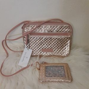 2 PC SET Vera Bradley  rose gold shimmer metallic